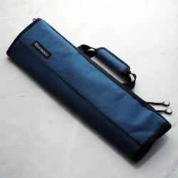 Messermeister Printed 8 Pocket Padded Knife Roll Black and Blue Woven