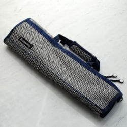 Messermeister Printed 8 Pocket Padded Knife Roll Navy and Silver Woven