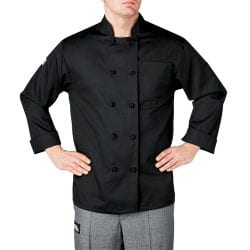 Chefwear Cloth Knot Button Chef Jacket: Black