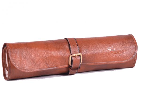 Boldric One Buckle Leather Knife Bag Tan