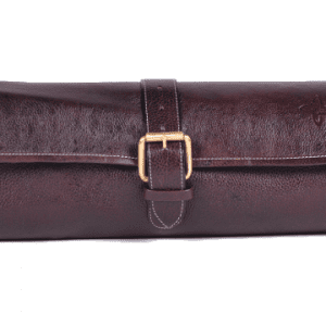 Boldric One Buckle Leather Knife Bag Brown