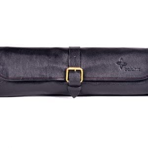 Boldric One Buckle Leather Knife Bag Black